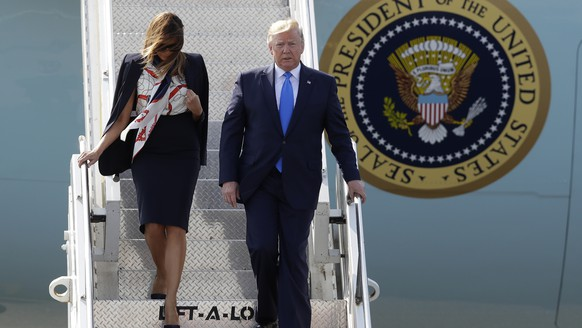 President Donald Trump and first lady Melania Trump arrive at Stansted Airport in England, Monday, June 3, 2019 at the start of a three day state visit to Britain. (AP Photo/Kirsty Wigglesworth)