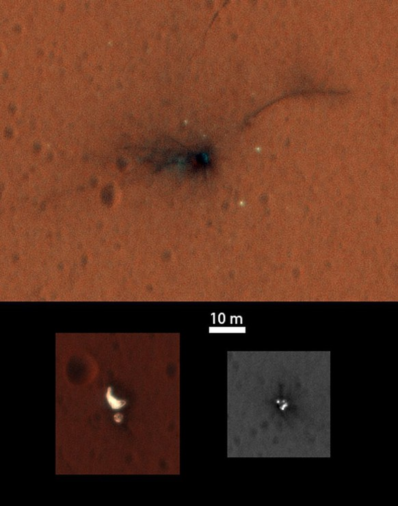 epa05617436 A handout composite image issued 04 November 2016 of the ExoMars Schiaparelli module elements seen by NASA's Mars Reconnaissance Orbiter High Resolution Imaging Science Experiment (HiRISE) on 01 November 2016. Both the main impact site (top) and the region with the parachute and rear heatshield (bottom left) are now captured in the central portion of the HiRISE imaging swath that is imaged through three different filters, enabling a colour image to be constructed. The front heatshield (bottom right) lies outside the central colour imaging swath.  EPA/NASA/JPL-Caltech/University of Arizona / HANDOUT  HANDOUT EDITORIAL USE ONLY