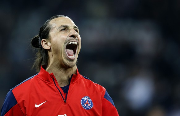 Paris Saint Germain's  Zlatan Ibrahimovic reacts during the warm up before the French Ligue 1 soccer match against Nice at l'Allianz stadium in Nice in this March 28, 2014 file photo.       REUTERS/Eric Gaillard/Files (FRANCE - Tags: TPX IMAGES OF THE DAY SPORT SOCCER)