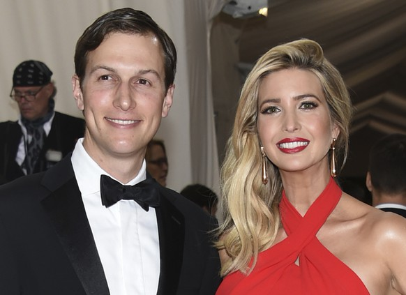 FILE - In this May 2, 2016, file photo, Jared Kushner, left, and Ivanka Trump arrive at The Metropolitan Museum of Art Costume Institute Benefit Gala, celebrating the opening of