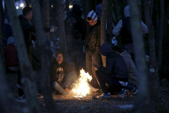 Migrants gather under trees and light a fire to keep warm, near to the Eurotunnel site in Calais, France, August 4, 2015. Many migrants, each night, wait for darkness prior to heading for the Channel tunnel entrance, where they attempt to illegally jump onto moving freight trains bound for Britain.  REUTERS/Peter Nicholls