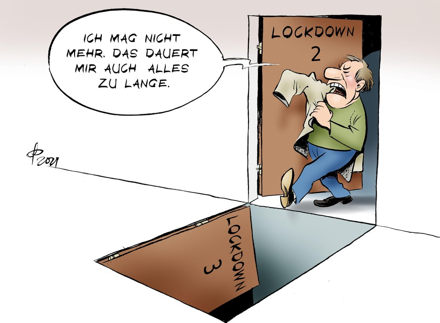 Coronavirus: Cartoon bzw. Karikatur zum Lockdown.