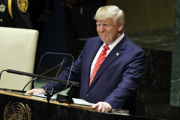 President Donald Trump delivers remarks to the 74th session of the United Nations General Assembly, Tuesday, Sept. 24, 2019, in New York. (AP Photo/Evan Vucci) Donald Trump