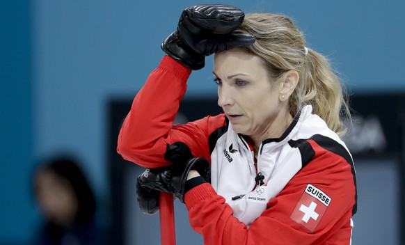 Switzerland's skip Silvana Tirinzoni looks on during a women's curling match against South Korea at the 2018 Winter Olympics in Gangneung, South Korea, Friday, Feb. 16, 2018. (AP Photo/Natacha Pisarenko)