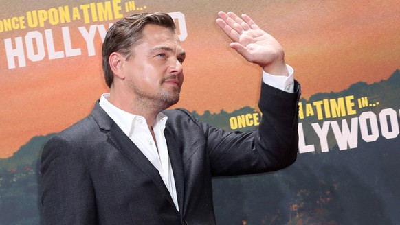 epa07752135 US actor/cast member Leonardo DiCaprio poses during the German premiere of 'Once Upon a Time in... Hollywood' in Berlin, Germany, 01 August 2019. The movie opens in German cinemas on 15 August.  EPA/HAYOUNG JEON