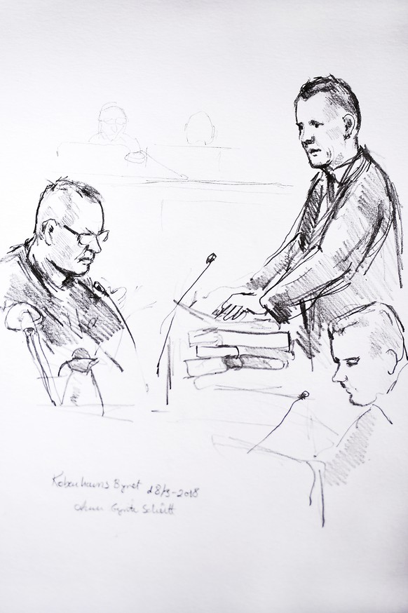 Drawing by Anne Gyrite Schütt shows accused Peter Madsen, left, and the prosecutor Jakob Buch-Jepsen, standing right, on the first day of the trial at the courthouse in Copenhagen Denmark where the trial of Danish inventor Peter Madsen, charged with murdering and dismembering Swedish journalist Kim Wall aboard his privately made submarine, opened on Thursday, March 8, 2018. (Ritzau Scanpix via AP)