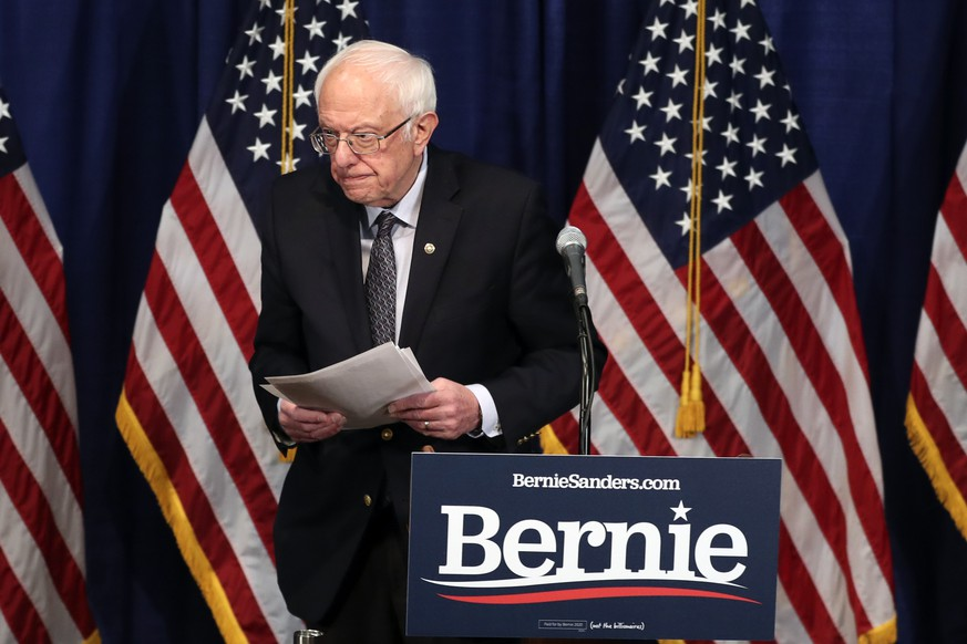 Democratic presidential candidate, Sen. Bernie Sanders, I-Vt., walks from the podium after speaking to reporters on Wednesday, March 11, 2020, in Burlington, Vt. (AP Photo/Charles Krupa) Bernie Sanders