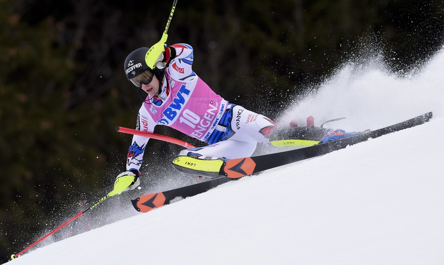 France's Clement Noel competes during an alpine ski, men's World Cup slalom in Wengen, Switzerland, Sunday, Jan. 20, 2019. (AP Photo/Marco Tacca)