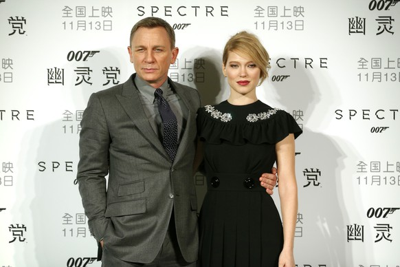 British actor Daniel Craig and French actress Lea Seydoux pose for photographers before a press conference for the movie