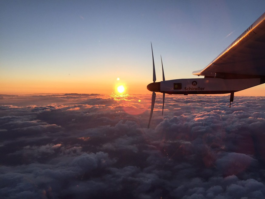 epa04827299 A handout photograph provided by Solar Impulse shows the Solar Impulse 2 plane after taking off from the international airport in Nagoya, Japan, on 29 June  2015. The solar-powered plane took off early 29 June for Hawaii after an unexpected month-long stop in central Japan due to bad weather conditions. The Solar Impulse 2 departed shortly after 3 am (1800 GMT Sunday) from a small airport in Nagoya, where it had been forced to land on the way from Nanjing in eastern China in early June.  EPA/SOLAR IMPULSE / JEAN REVILLARD / REZO / HANDOUT  HANDOUT EDITORIAL USE ONLY/NO SALES HANDOUT EDITORIAL USE ONLY/NO SALES