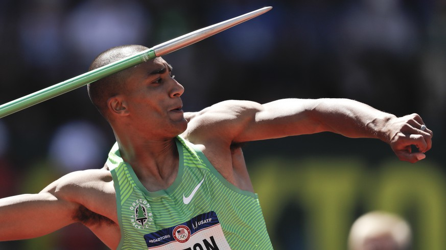 Ashton Eaton competes in the decathlon javelin throw at the U.S. Olympic Track and Field Trials, Sunday, July 3, 2016, in Eugene Ore. (AP Photo/Matt Slocum)