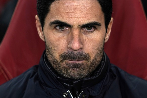 epa08290820 (FILE) - Arsenal manager Mikel Arteta during the UEFA Europa League Round of 32 second leg soccer match between Arsenal and Olympiacos Piraeus at Emirates Stadium, in London, Britain, 27 February 2020 (reissued 12 March 2020). Arteta on 12 March 2020 said he was tested positive for coronavirus and will be self-isolating.  EPA/WILL OLIVER