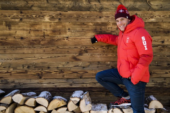 Jovian Hediger of Switzerland poses during a media conference of the Swiss Cross Country ski team in the House of Switzerland at the XXIII Winter Olympics 2018 in Pyeongchang, South Korea, on Monday, February 12, 2018. (KEYSTONE/Jean-Christophe Bott)