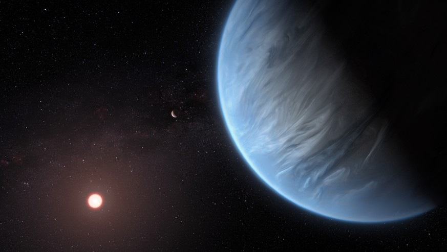 epa07835758 A handout photo made available by the European Space Agency (ESA) on 11 September 2019 shows an artist's impression of the planet K2-18b, it's host star and an accompanying planet in this system. K2-18b is now the only super-Earth exoplanet known to host both water and temperatures that could support life. UCL researchers used archive data from 2016 and 2017 captured by the NASA/ESA Hubble Space Telescope and developed open-source algorithms to analyse the starlight filtered through K2-18b?s atmosphere. The results revealed the molecular signature of water vapour, also indicating the presence of hydrogen and helium in the planet?s atmosphere.  EPA/ESA/Hubble, M. Kornmesser / HANDOUT  HANDOUT EDITORIAL USE ONLY/NO SALES