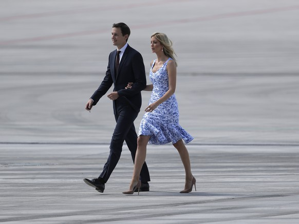 Ivanka Trump and her husband Jared Kushner arrive for the G-20 summit in Hamburg, northern Germany, Thursday, July 6, 2017. The leaders of the group of 20 meet July 7 and 8. (AP Photo/Markus Schreiber)