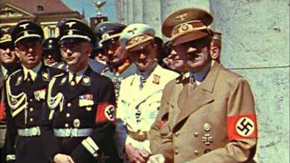 This scene of Adolf Hitler and Nazi officials in Munich in the summer of 1939 -- just before the start of World War II, supplied by C.Cay Wesnigk Film, is from
