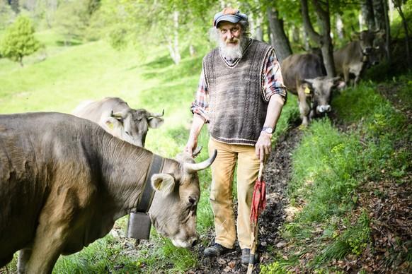 ARCHIV -- ZU DEN EIDGENOESSISCHEN ABSTIMMUNGEN VOM SONNTAG, 25. NOVEMBER 2018, UEBER DIE HORNKUH INITITAVE, STELLEN WIR IHNEN FOLGENDES BILDMATERIAL ZUR VERFUEGUNG -- Mountain farmer Armin Capaul on a meadow with his cows, pictured on May 27, 2016, in Perrefitte near Moutier in the canton of Berne, Switzerland. Capaul contends for cows and goats with horns on Swiss pastures. (KEYSTONE/Manuel Lopez) ....Bergbauer Armin Capaul mit seinen Kuehen auf einer Wiese, aufgenommen am Freitag, 27. Mai 2016, in Perrefitte bei Moutier im Kanton Bern. Capaul kaempft fuer Kuehe und Ziegen mit Hoerner auf Schweizer Weiden. (KEYSTONE/Manuel Lopez)