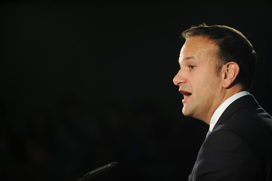 epa05976209 The Irish Minister for Social Protection, Leo Varadkar, speaks at the launch of his leadership campaign for the Fine Gael Party in Dublin, Ireland, 20 May 2017. Leo Varadkar is the favourite to win and become leader of the governing party in Ireland and subsequently next Prime minister of Ireland until the next general election.  EPA/Aidan Crawley