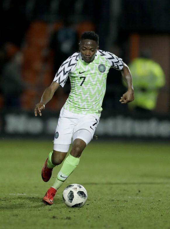 ARCHIV – ZU DEN TEAM-PORTRAITS DER GRUPPE D AN DER WM 2018 IN RUSSLAND STELLEN WIR IHNEN FOLGENDES BILDMATERIAL ZUR VERFUEGUNG - Nigeria's Ahmed Musa during the international friendly soccer match between Serbia and Nigeria at The Hive Stadium in London, Tuesday, March 27, 2018. (KEYSTONE/AP Photo/Matt Dunham)
