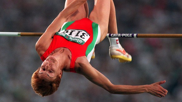 Stefka Kostadinova of Bulgaria competes in the women's high jump final at the Summer Olympic Games in Atlanta, Saturday, August 3, 1996. Kostadinova won the gold medal with a jump of 6 feet, 8 3/4 inches.(AP Photo/Roberto Borea)