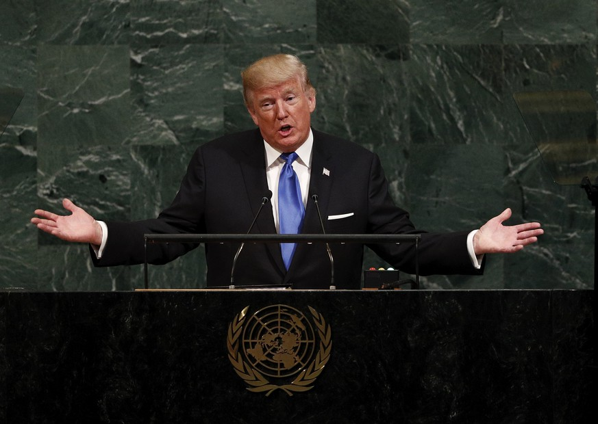 epa06213803 United States President Donald Trump addressing the assembly during the opening session of the General Debate of the 72nd United Nations General Assembly at UN headquarters in New York, New York, USA, 19 September  2017.  The annual gathering of world leaders formally opens 19 September 2017, with the theme, ÔFocusing on People: Striving for Peace and a Decent Life for All on a Sustainable Planet.'  EPA/JUSTIN LANE