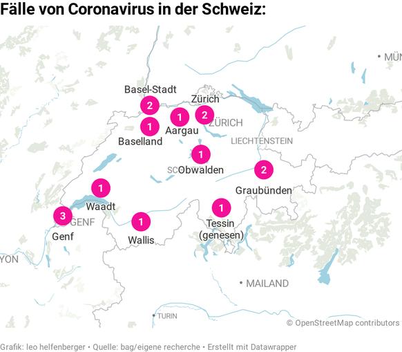 Übersichtskarte mit den 15 Coronavirus-Fällen in der Schweiz. Stand 29.02.2020, 0600