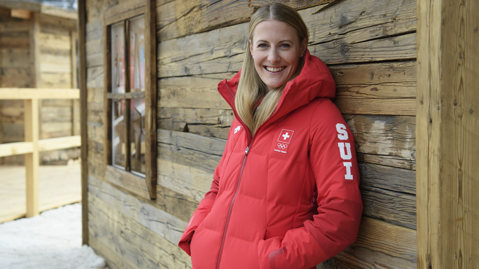 Fanny Smith of Switzerland poses during a media conference of the Swiss Ski Cross team in the House of Switzerland during the XXIII Winter Olympics 2018 in Pyeongchang, South Korea, on Monday, February 19, 2018. (KEYSTONE/Gian Ehrenzeller)