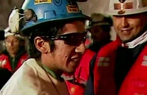 FILE - This Oct. 13, 2010 file photo of a screen grab taken from video, shows miner Jimmy Sanchez, the fifth miner to be rescued at the San Jose mine where 33 miners had been trapped for 69 days, near Copiapo, Chile. Sanchez told The Associated Press on Wednesday, Aug. 5, 2020, that