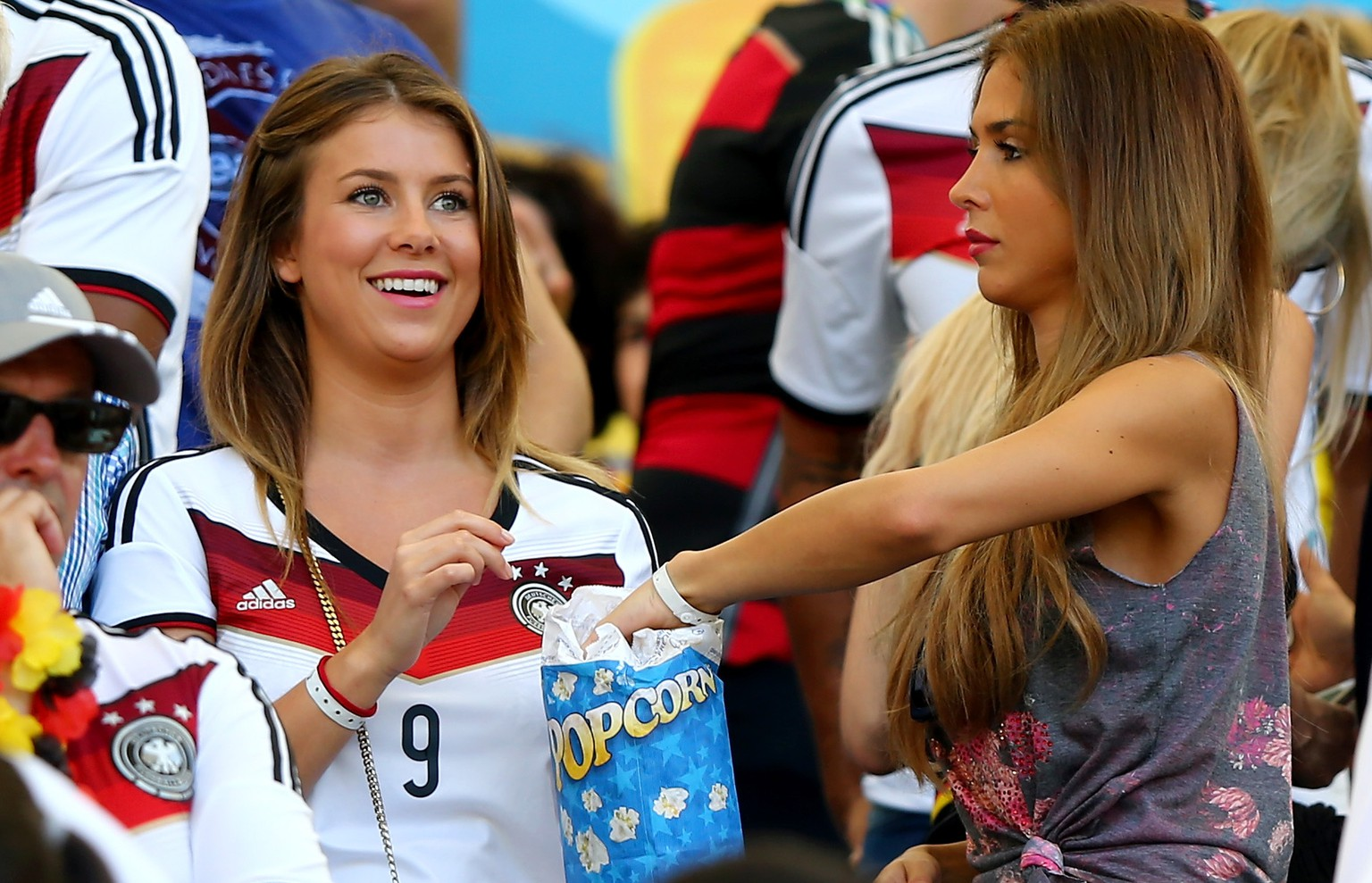 RIO DE JANEIRO, BRAZIL - JULY 04:  Montana Yorke (L), girlfriend of Andre Schuerrle of Germany, and Ann-Kathrin Brommel, girlfriend of Mario Gotze of Germany, looks on during the 2014 FIFA World Cup Brazil Quarter Final match between France and Germany at Maracana on July 4, 2014 in Rio de Janeiro, Brazil.  (Photo by Martin Rose/Getty Images)