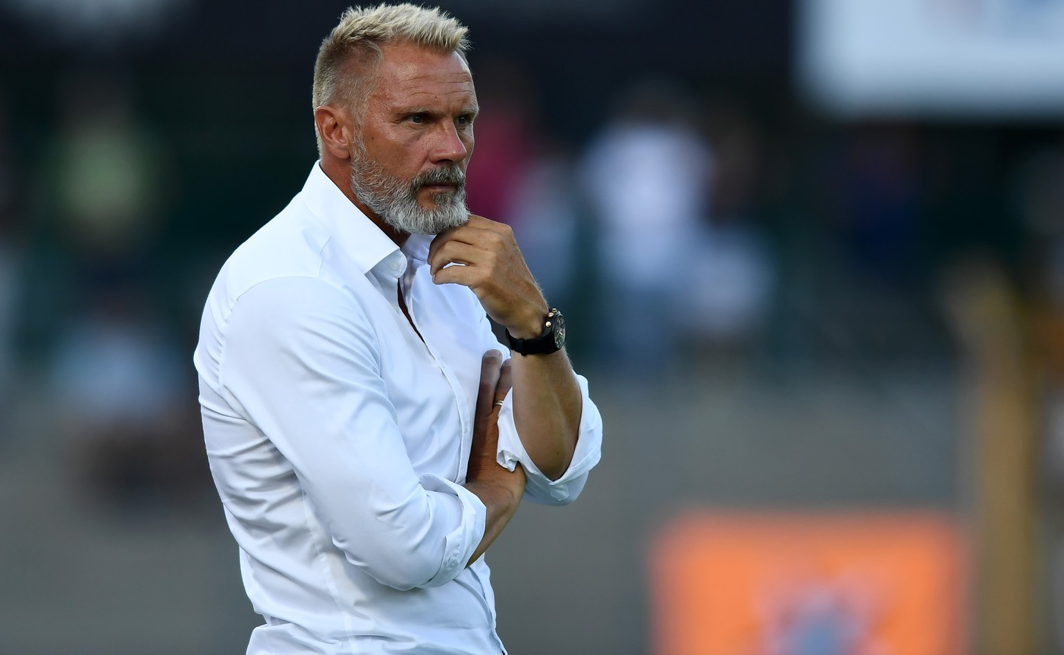 Grasshopper's coach Thorsten Fink during the Super League soccer match FC Lugano against Grasshopper Club Zuerich, at the Cornaredo stadium in Lugano, Saturday, August 11, 2018. (KEYSTONE/Ti-Press/Gabriele Putzu)