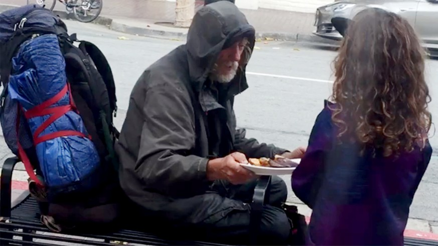 8-Year-Old Gives Homeless Man Dinner