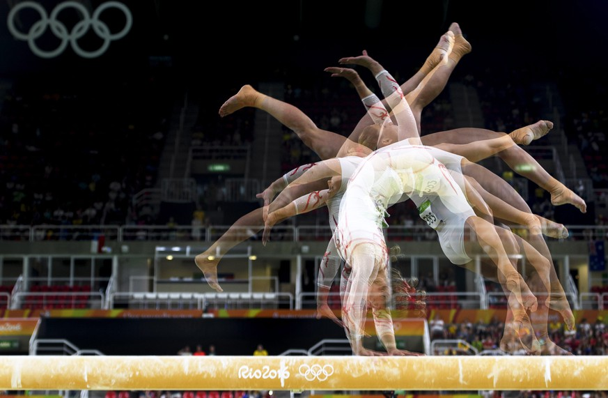epa05461902 A multi exposure photo of Switzerland's Giulia Steingruber competing on the balance beam during the women's Individual All-Around qualification of the Rio 2016 Olympic Games Artistic Gymnastics events at the Rio Olympic Arena in Barra da Tijuca, Rio de Janeiro, Brazil, 07 August 2016.  EPA/LAURENT GILLIERON