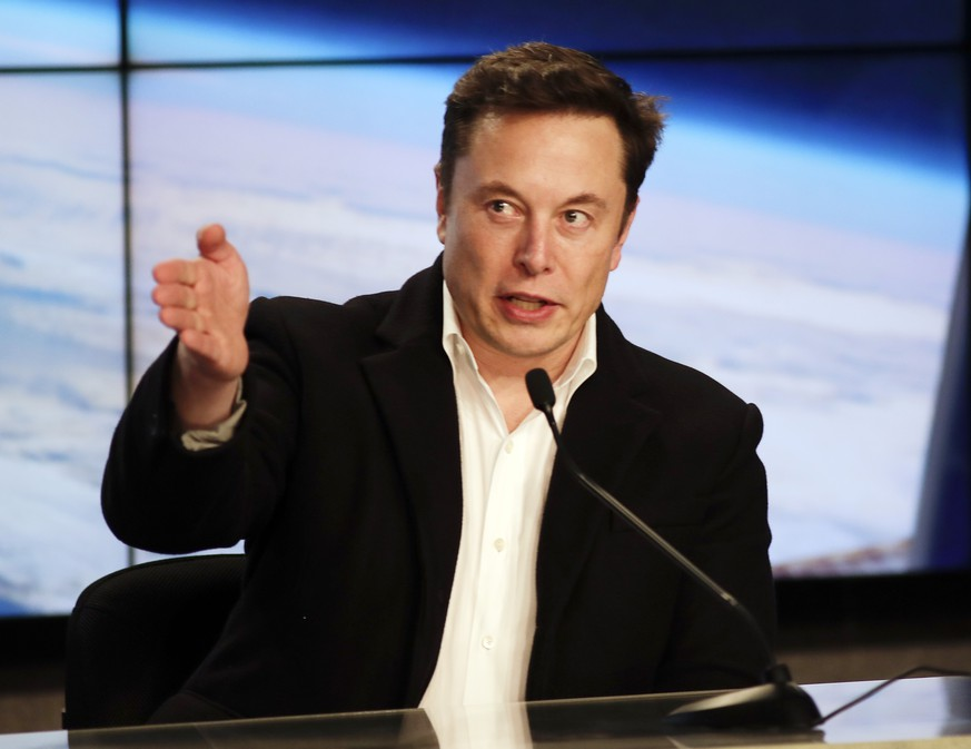 Elon Musk, CEO of SpaceX, speaks during a news conference after the SpaceX Falcon 9 Demo-1 launch at the Kennedy Space Center in Cape Canaveral, Fla., Saturday, March 2, 2019. (AP Photo/John Raoux)