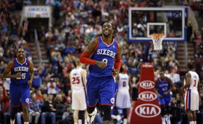 Philadelphia 76ers' Tony Wroten smiles after a basket during the second half of an NBA basketball game against the Detroit Pistons, Saturday, March 29, 2014, in Philadelphia. Philadelphia won 123-98, breaking a 26-game losing streak. (AP Photo/Matt Slocum)