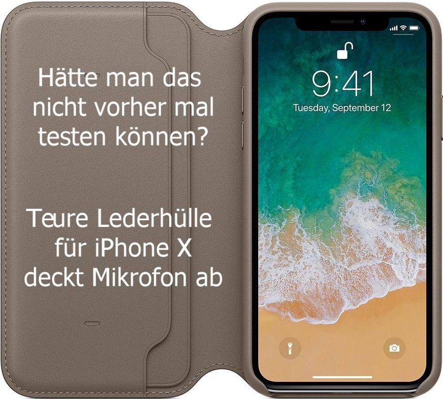 apples leder h lle folio f r das iphone x verdeckt das mikrofon watson. Black Bedroom Furniture Sets. Home Design Ideas