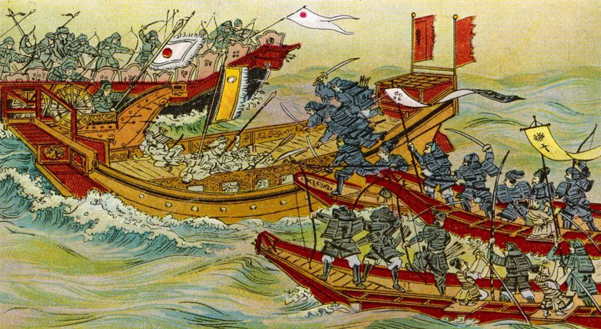 The Mongols, under Kublai  Khan, seek to conquer Japan  but their invasion fleet is  devastated by storms, and the  Japanese finish off any  vessels which survive.     Date: 1281 (Mary Evans Picture Library) Keine Weitergabe an Drittverwerter., Nur für redaktionelle Verwendung.