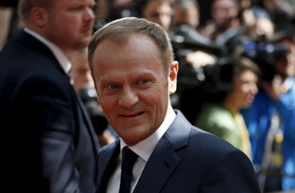 European Council President Donald Tusk arrives at an European Union leaders summit in Brussels April 23, 2015. European Union leaders who decided last year to halt the rescue of migrants trying to cross the Mediterranean will reverse their decision on Thursday at a summit hastily convened after nearly 2,000 people died at sea.   REUTERS/Francois Lenoir