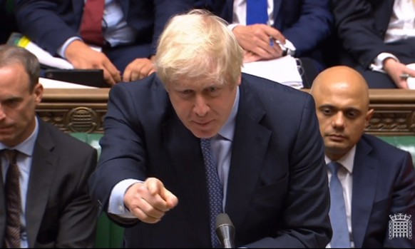 epa07816665 A grab from a handout video made available by the UK Parliamentary Recording Unit shows British Prime Minister Boris Johnson during PMQs in the House of Commons in London, Britain, 04 September 2019.  EPA/UK PARLIAMENTARY RECORDING UNIT / HANDOUT MANDATORY CREDIT: UK PARLIAMENTARY RECORDING UNIT  HANDOUT EDITORIAL USE ONLY/NO SALES HANDOUT EDITORIAL USE ONLY/NO SALES