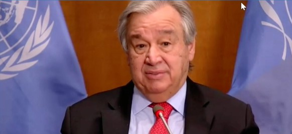 epa08964974 A still image obtained from a live video feed by the World Economic Forum (WEF) shows Secretary-General of the United Nations Antonio Guterres as he delivers Special Address during a virtual meeting of the World Economic Forum, 25 January 2021. The World Economic Forum (WEF) was scheduled to take place in Davos. Due to the Coronavirus outbreak, it will be held online in a digital format from January, 25-29.  EPA/PASCAL BITZ / WEF HANDOUT MANDATORY CREDIT / HANDOUT EDITORIAL USE ONLY/NO SALES
