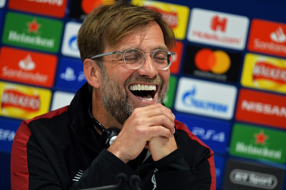 epa07550691 Liverpool's manager Juergen Klopp laughs during a press conference at Anfield in Liverpool, Britain, 06 May 2019. Liverpool FC will face FC Barcelona in their UEFA Champions League semi final, second leg soccer match on 07 May 2019.  EPA/PETER POWELL