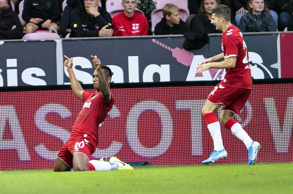 Rangers' Alfredo Morelos reacts after scoring during the Europa League third round qualifying soccer match between FC Midtjylland and Rangers FC at MCH Arena in Herning, Denmark, Thursday Aug. 8, 2019. (Henning Bagger/Ritzau Scanpix via AP)