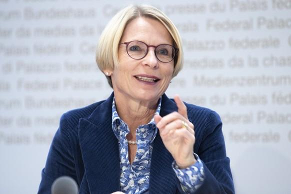 Die neu gewaehlte Staatssekretaerin Livia Leu spricht waehrend einer Medienkonferenz des Bundesrates, zu den Medien, am Mittwoch, 14. Oktober 2020, im Bundeshaus in Bern. (KEYSTONE /Marcel Bieri)