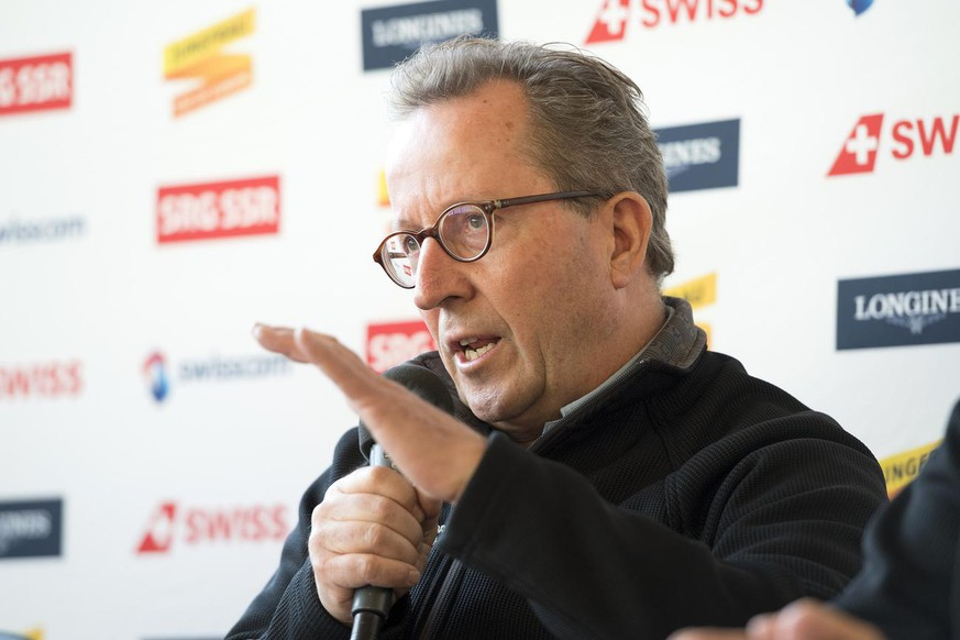 Urs Naepflin, OC President and Technical Race Director, speaks during a press conference to inform about the damages due the storm yesterday and last night and the next steps of the Alpine Skiing FIS Ski World Cup in Wengen, Switzerland, on Tuesday, January 9, 2018. The first FIS Ski World Cup men's downhill training, scheduled today Wednesday 13th January, had to be cancelled due to the current weather conditions. (KEYSTONE/Anthony Anex)