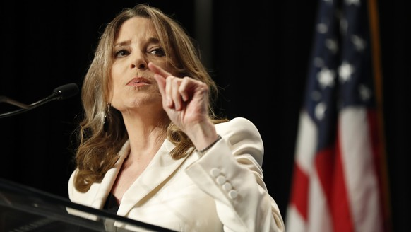 Democratic presidential candidate Marianne Williamson speaks during the Iowa Democratic Party's Hall of Fame Celebration, Sunday, June 9, 2019, in Cedar Rapids, Iowa. (AP Photo/Charlie Neibergall)