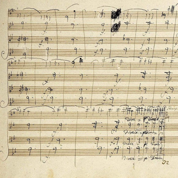 Sotheby's handout image of page 17 of the Beethoven manuscript. At the bottom Beethoven extends the Trio section by erasing some notes and by squeezing some extra bars into the same space on the staves.  The 178-year-old signed manuscript by Ludwig van Beethoven which has Friday 5 December 2003, sold for more than £1 million (euros 1.5 million)  at auction. The composer's Scherzo from the String Quartet Opus 127 fetched £1,181,600 (euros 1.7 million) including buyer's premium at a packed Sotheby's sale in central London. A telephone bidder bought the 31-page autographed manuscript, which had a reserve price of £1 million (euros 1 and a half million)  EPA/HO