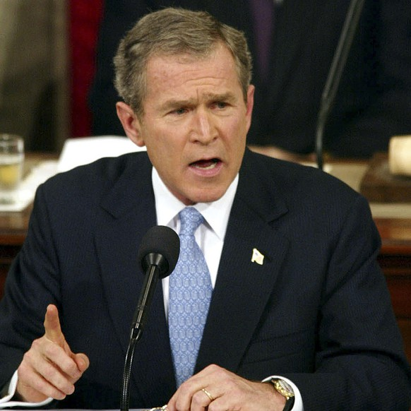 FILE - In this Jan. 29. 2002, file photo, President George W. Bush labels North Korea, Iran and Iraq an