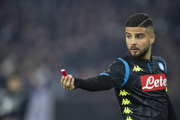 Napoli's Lorenzo Insigne reacts during the UEFA Europa League group stage soccer match between Switzerland's FC Zurich and Italian's SSC Neapel at the Letzigrund stadium in Zurich, Switzerland, on Thursday, February 14, 2019. (KEYSTONE/Ennio Leanza)