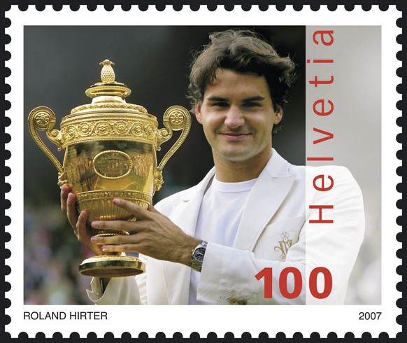 This picture made available by the Swiss Post on Tuesday, April 10, 2007, shows the Roger Federer special issue stamp. It is the first time ever that a living person has been depicted on a Swiss stamp. The stamp, with the face value of one franc. The stamp is available instantaneously. (KEYSTONE/Swiss Post) *** NO SALES, DARF NUR MIT VOLLSTAENDIGER QUELLENANGABE VERWENDET WERDEN ***