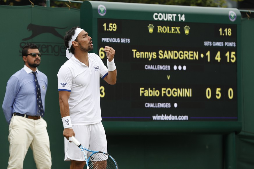 Italy's Fabio Fognini reacts as he plays United States' Tennys Sandgren in a Men's singles match during day six of the Wimbledon Tennis Championships in London, Saturday, July 6, 2019. (AP Photo/Alastair Grant)