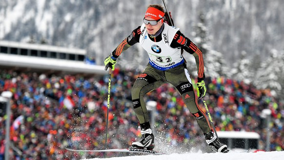 epa05711150 Germany's Benedikt Doll competes in the men's 4x7.5km Relay race of the Biathlon World Cup in Ruhpolding, Germany, 11 January 2017. Team Germany took the third place.  EPA/KERSTIN JOENSSON